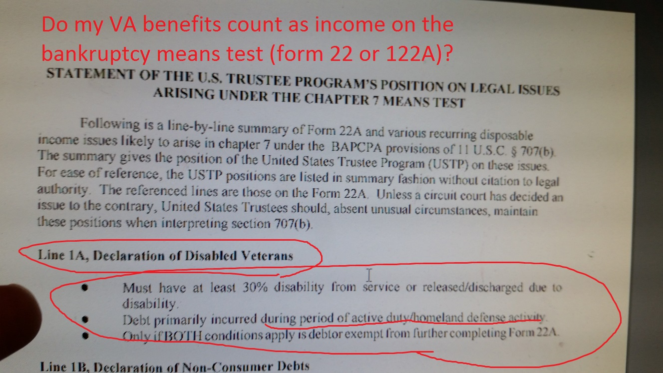do my va benefits count as income on the bankruptcy means test (form